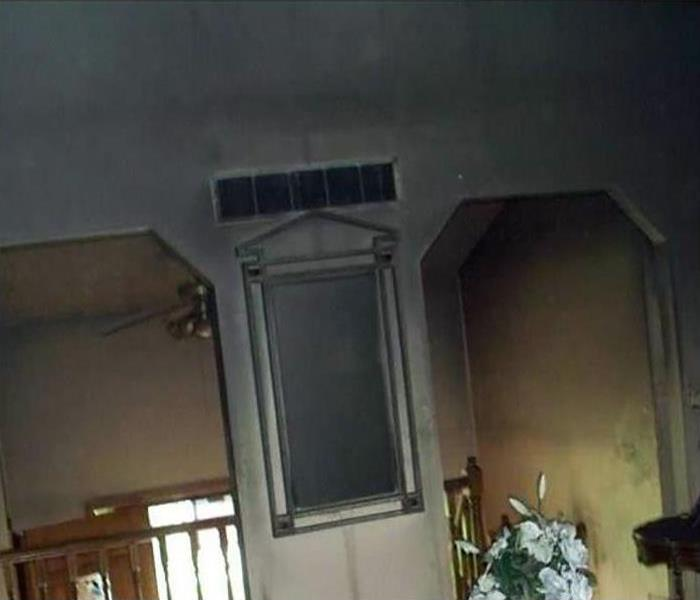 fire and soot damage in a home