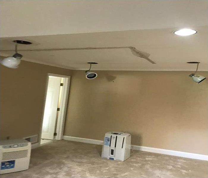 water damaged rec room