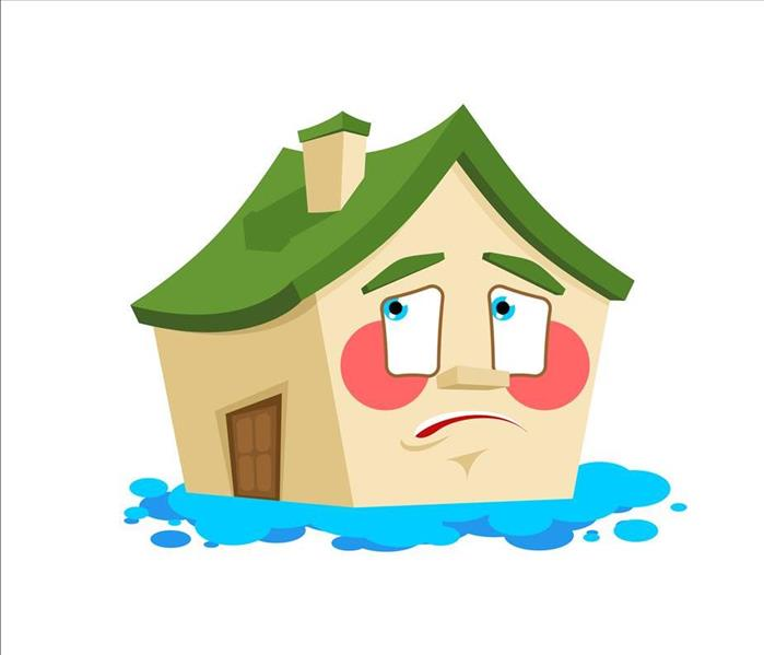 Cartoon House Looking Sad Surrounded by a Flood